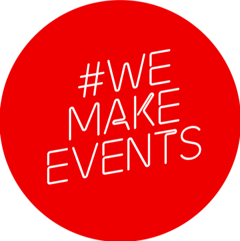 We Make Events Logo in Red