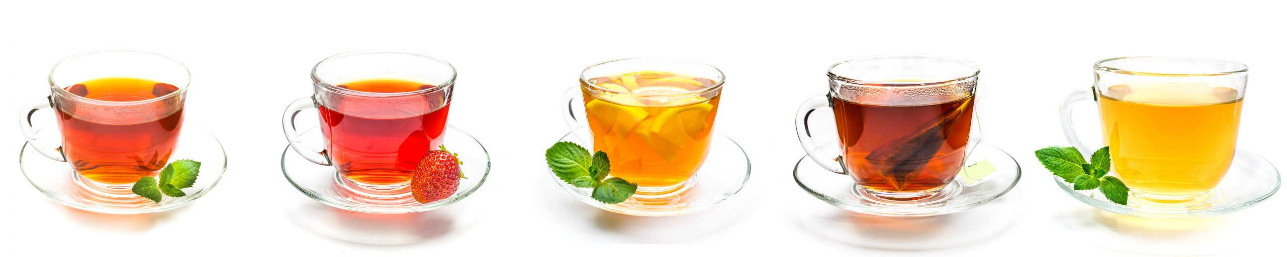 A row of clear teas