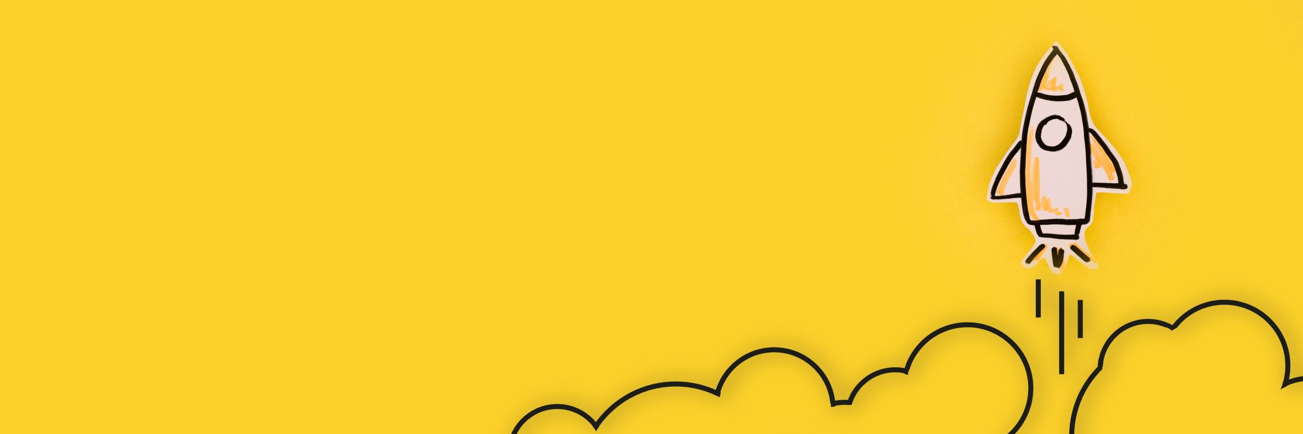 A cartoon rocket blasting off on a yellow background