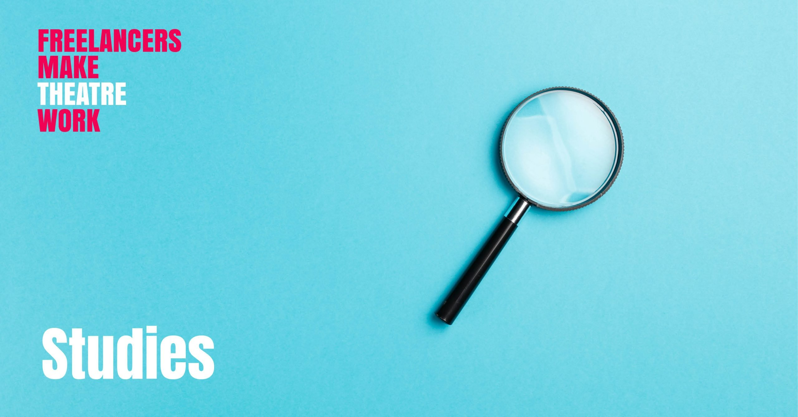 A magnifying glass on a blue background