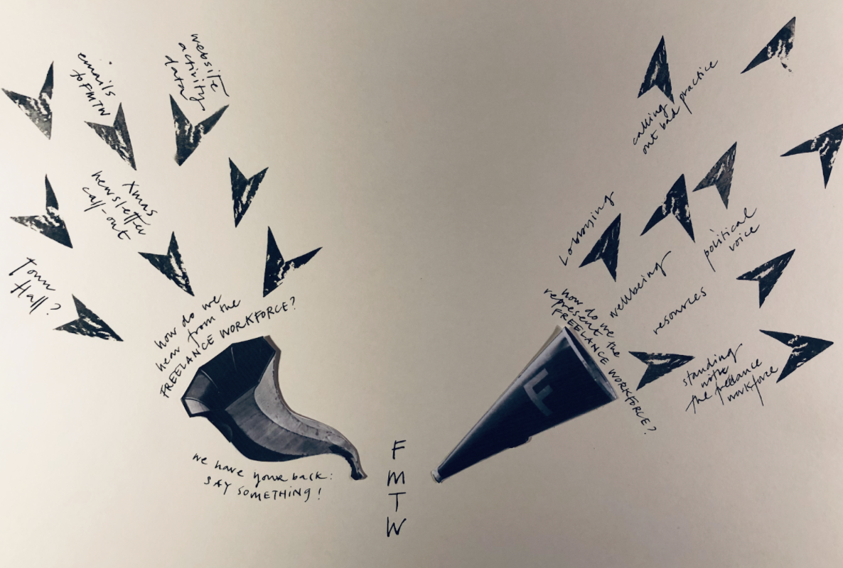 A hand-drawn, black and white image of two funnels. One is being fed by ideas in the form of arrows and the other is firing ideas out of it in the same way. In the middle of the two funnels is FMTW.