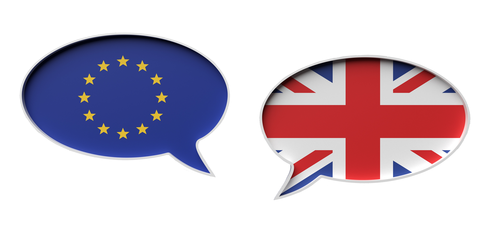 The European and British flags each sit in a floating speech bibble on a blue background