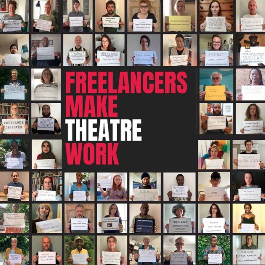 A collage of square photos from the Freelancers Make theatre Work campaign. Each square includes a member of the theatre industry holding up a sign in front of them stating the job they do within theatre. In the centre of the collage is the red and white Freelancers Make Theatre Work logo.