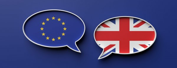 The European and British flags each sit in a floating speech bubble on a blue background