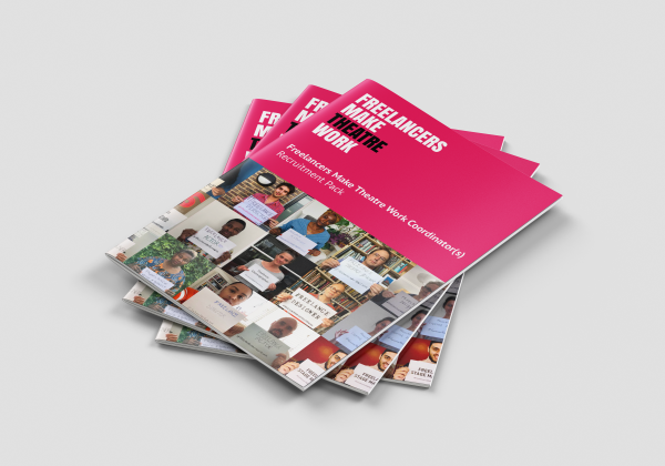 A stack of three job pack brochures for Freelancers Make Theatre Work