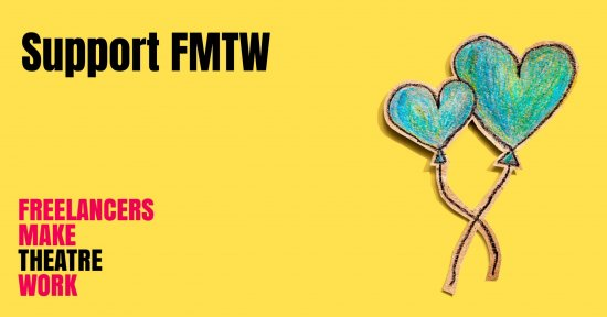 Two hand drawn blue ballons sit on a yellow background. The words 'Support FMTW' are written in a bold, black font with the red and black Freelancers Make Theatre Work logo in the lower left corner.